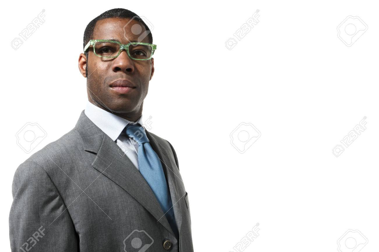50a95a9d2f4 black man wearing eyeglasses Stock Photo - 33997353