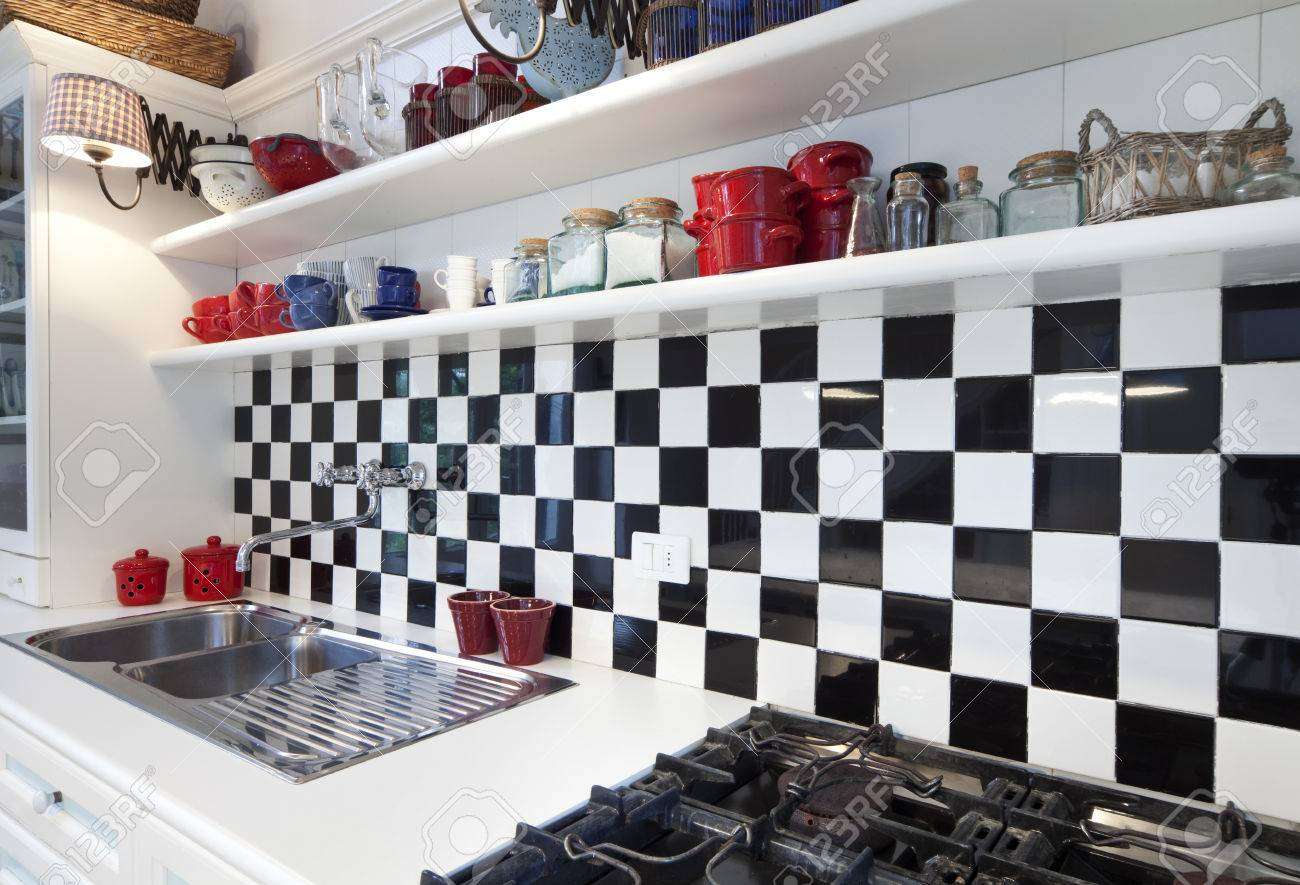 Chessboard Tile, Kitchen Interior Stock Photo, Picture And Royalty ...