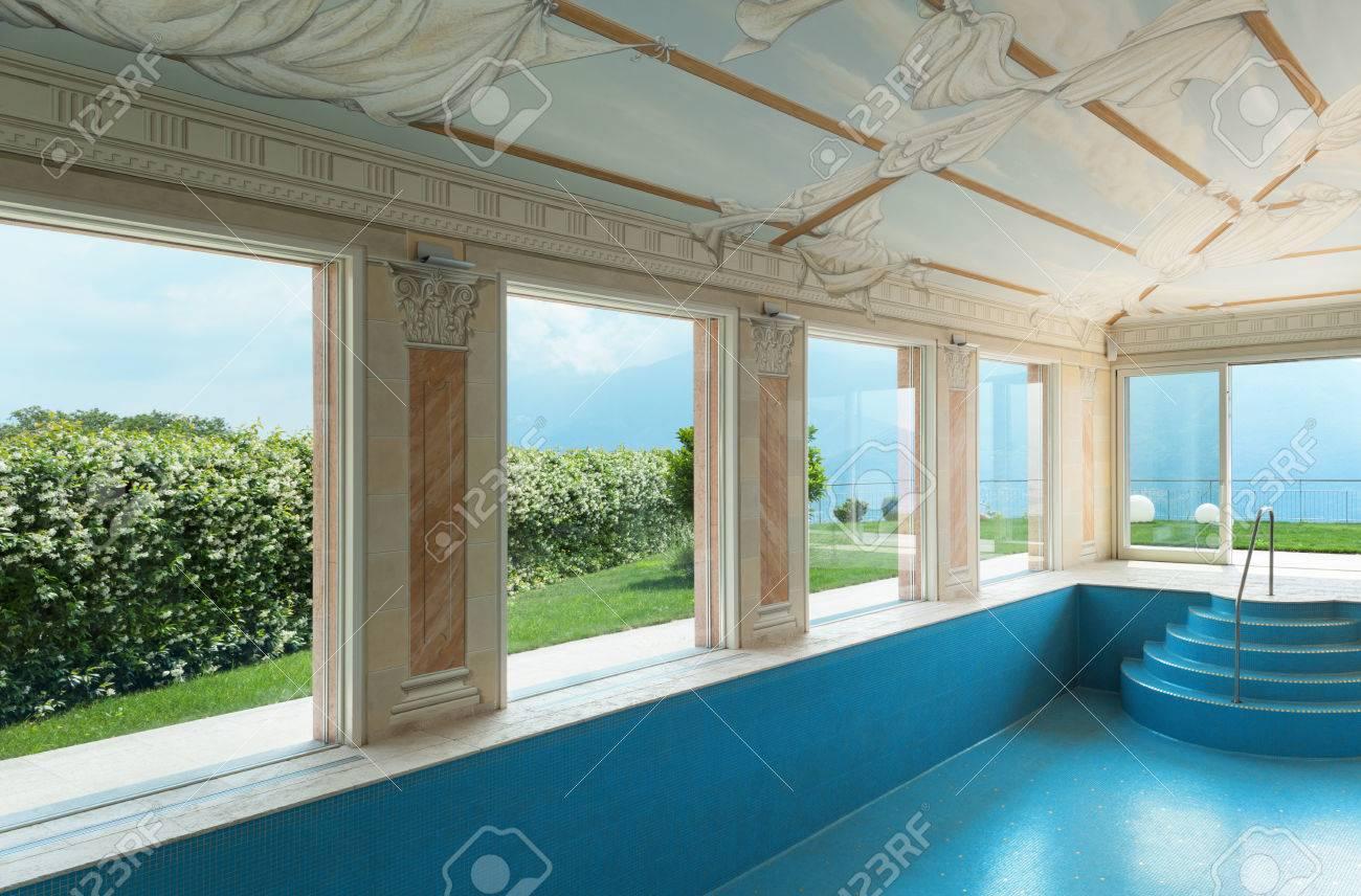 interni, villa di lusso, piscina decorata con affreschi foto ... - Interni Ville Lusso