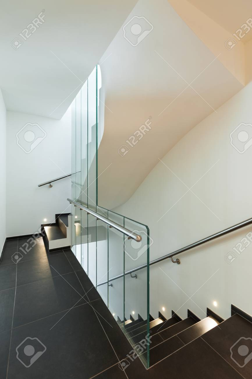 Interior Modern House, Entrance, Staircase View Stock Photo, Picture ...