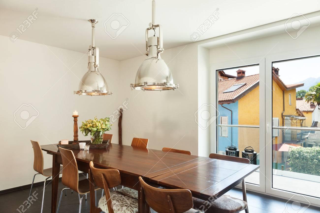 Interior Modernes Haus, Schöne Einrichtung, Esstisch Lizenzfreie ...