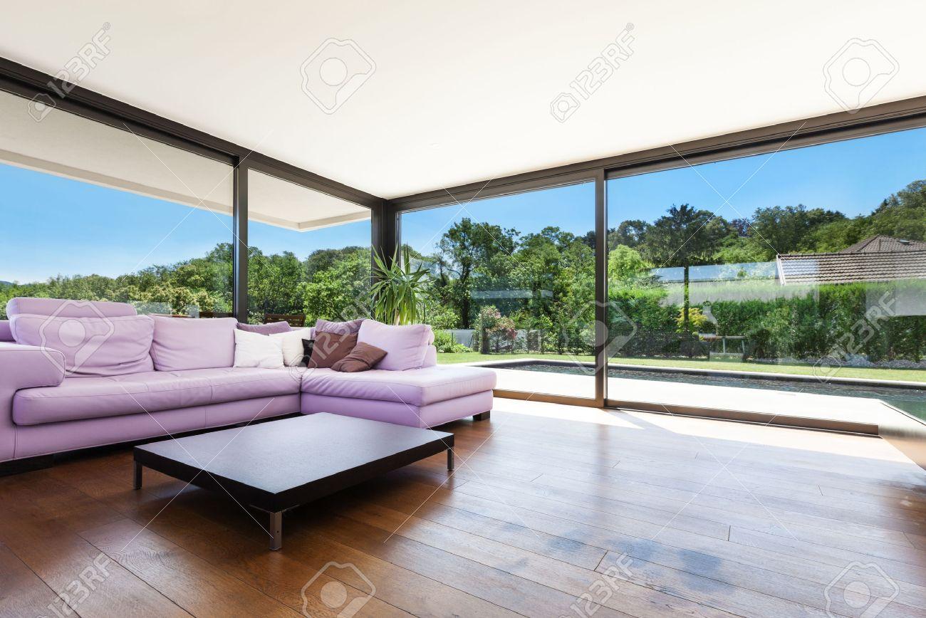 Modern Villa, Interior, Wide Living Room With Divan Stock Photo   36195379