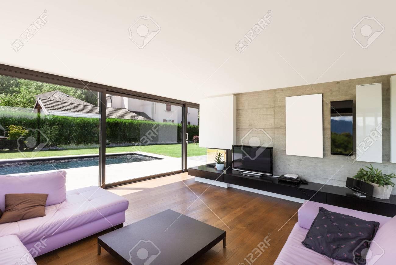 Beliebt Moderne Villa, Innen-, Großes Wohnzimmer Mit Rosa Schlaf GZ06