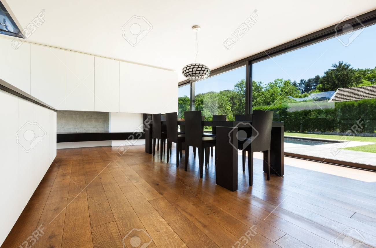 Modern villa interior beautiful dining room stock photo picture