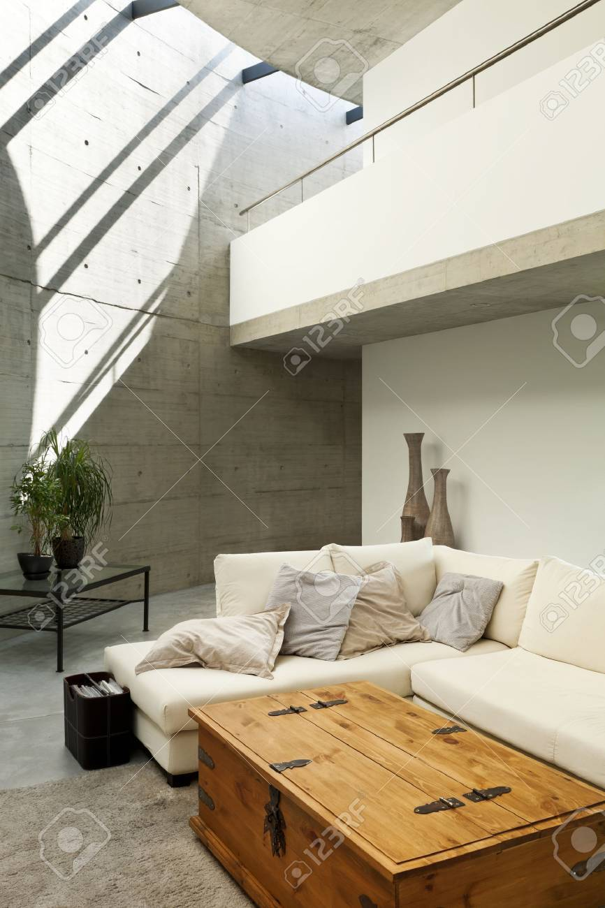 Beautiful modern house in cement interior living room stock photo 36890825