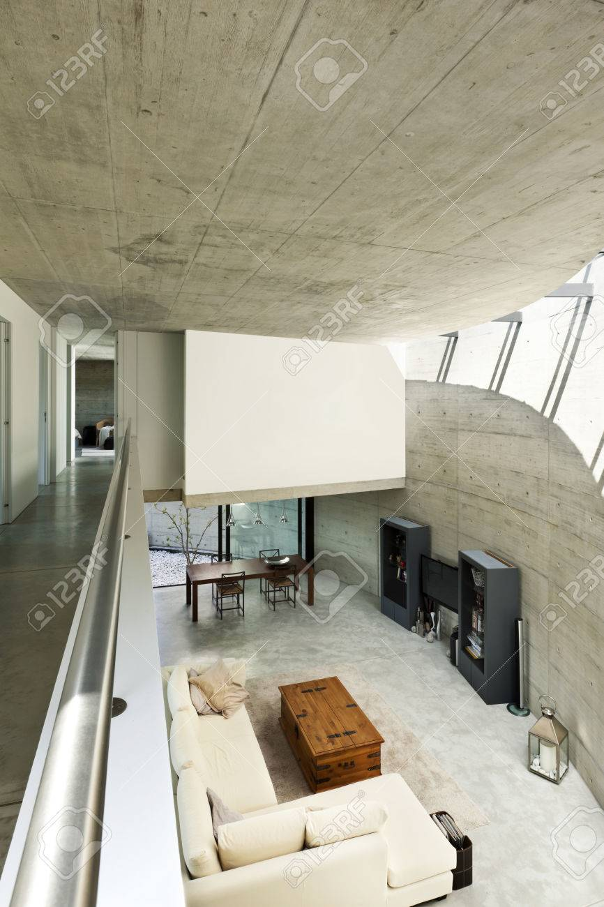 Schönes Modernes Haus Im Kleber, Innenraum, Wohnzimmer Ansicht Von ...