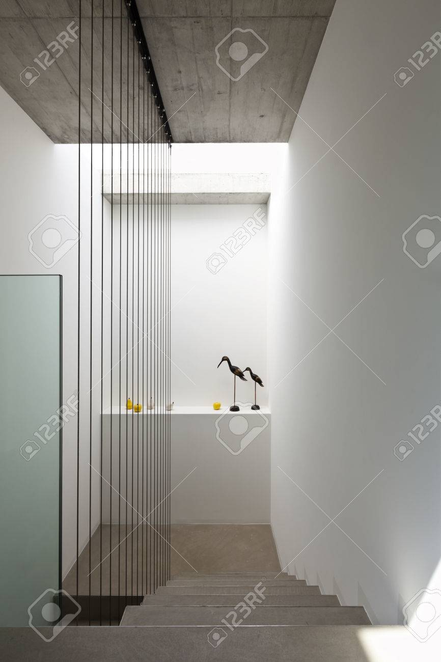 Beautiful modern house in cement interior staircase stock photo 36890705