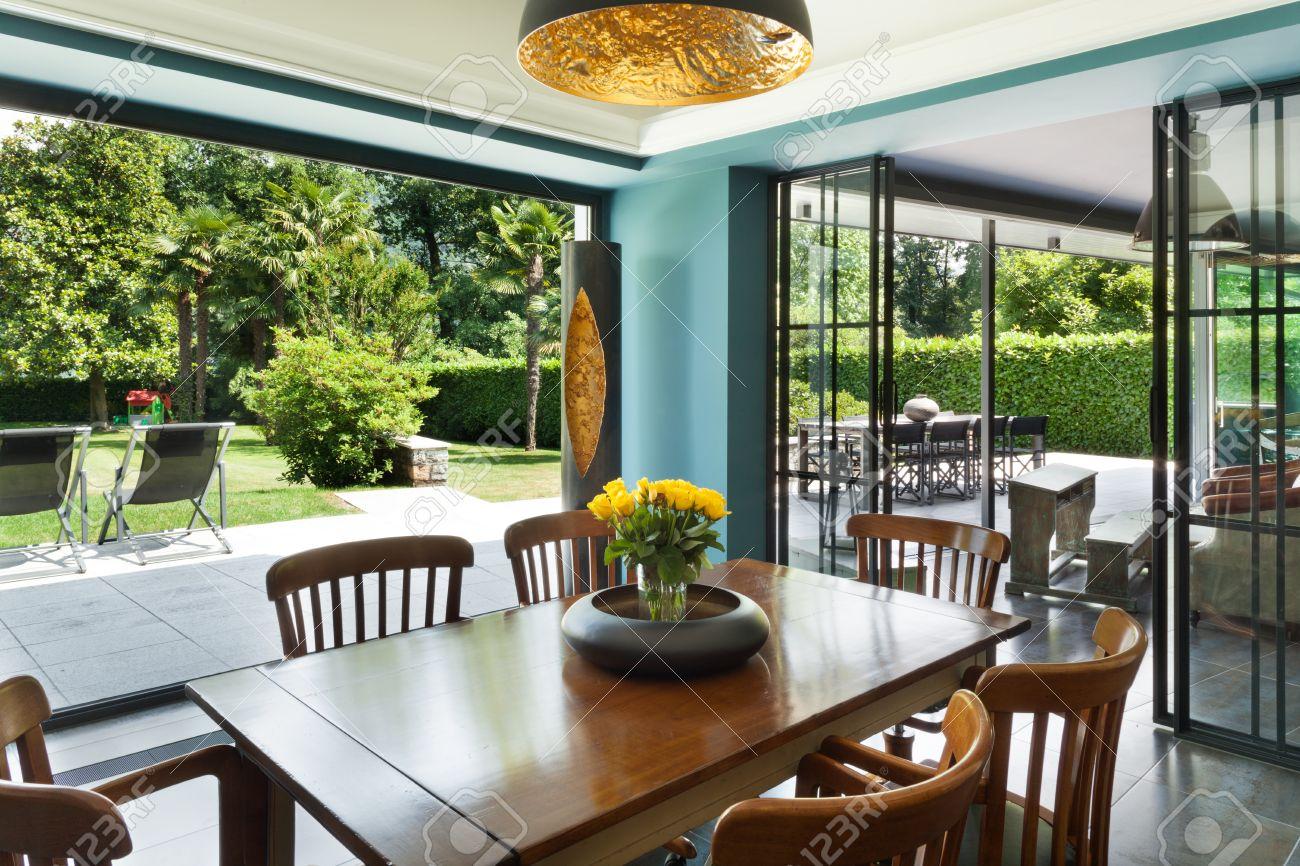 Interior, Modern House, Dining Room, Veranda View Stock Photo   38152476