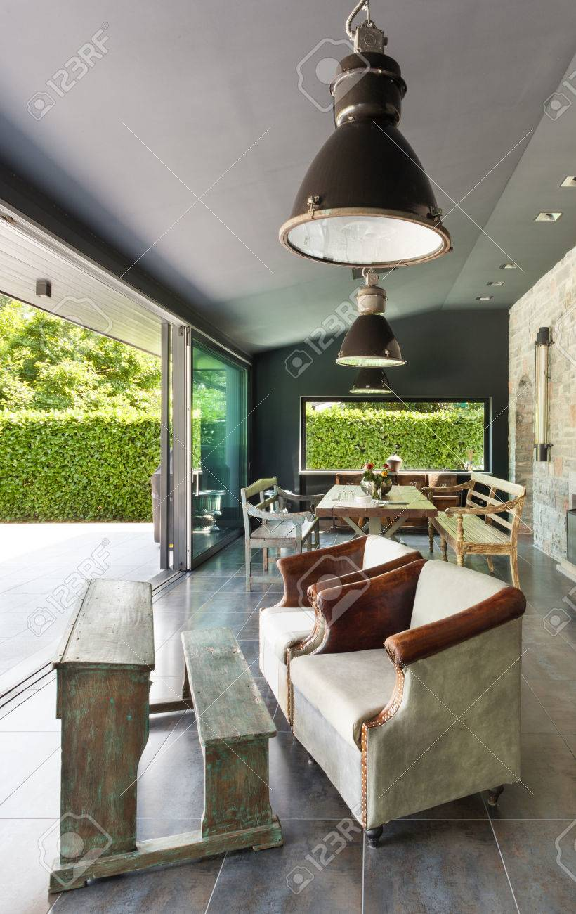Interieur Modernes Haus Esszimmer Rustikale Mobel Lizenzfreie