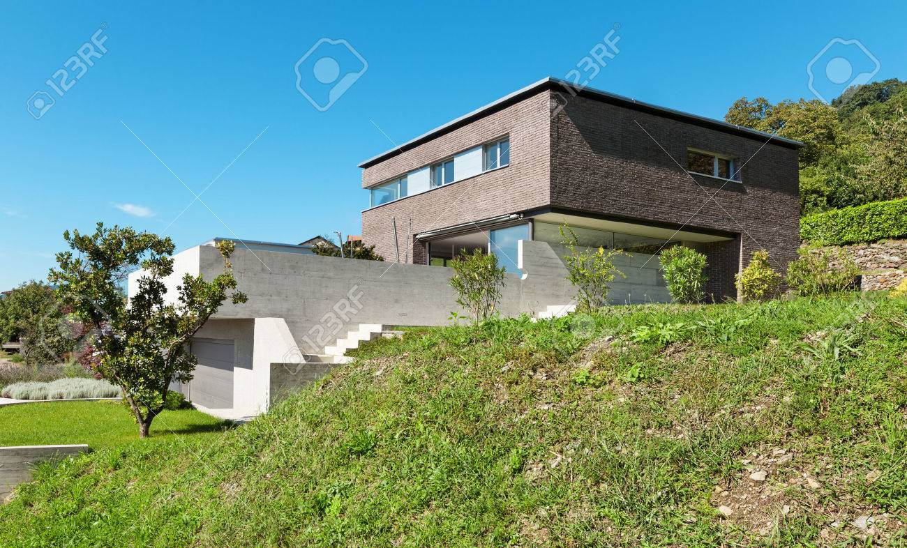 Architecture Modern Design, House Of Bricks, Outdoors Stock Photo ...