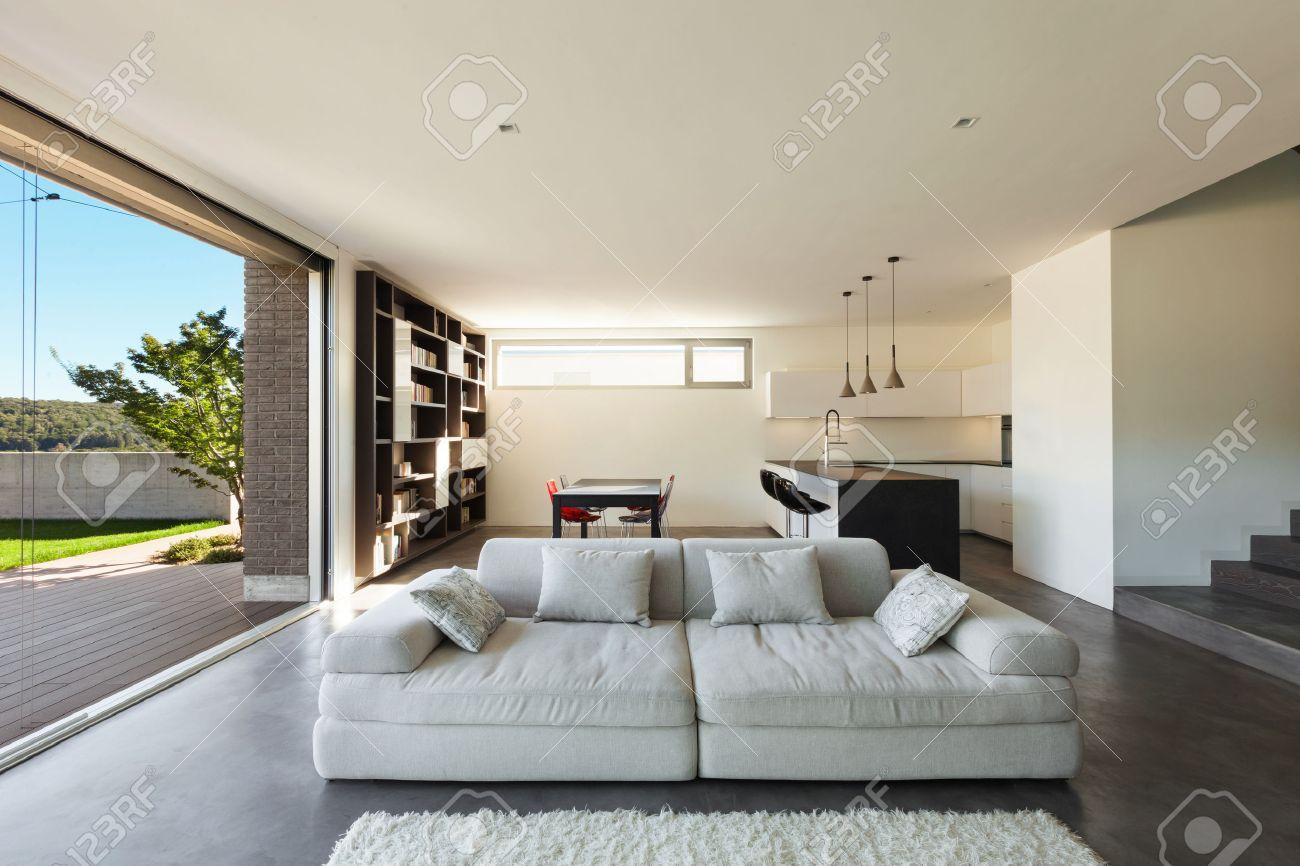 Architektur Modernes Design, Interieur, Wohnzimmer Mit Küche ...