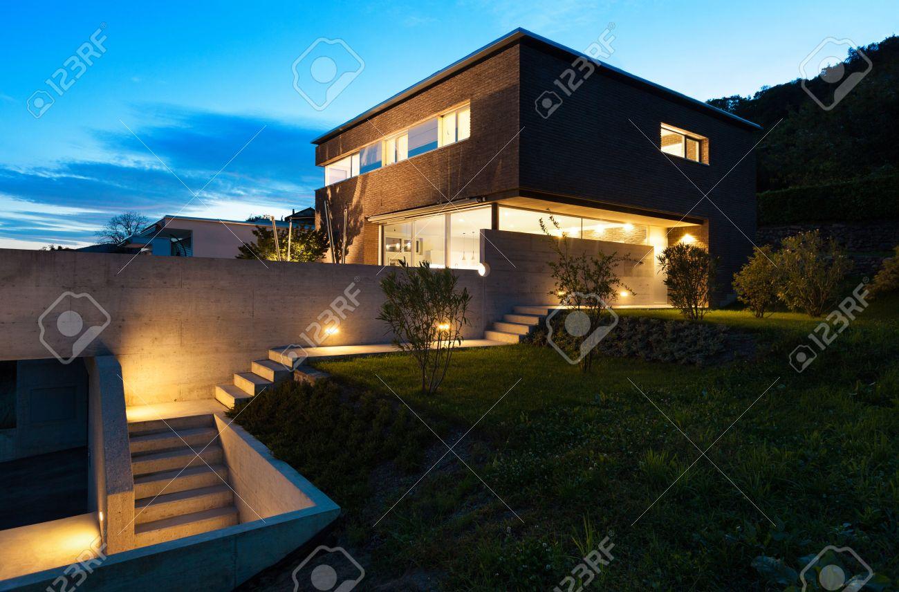 Architecture Modern Design, Beautiful House, Night Scene Stock Photo ...