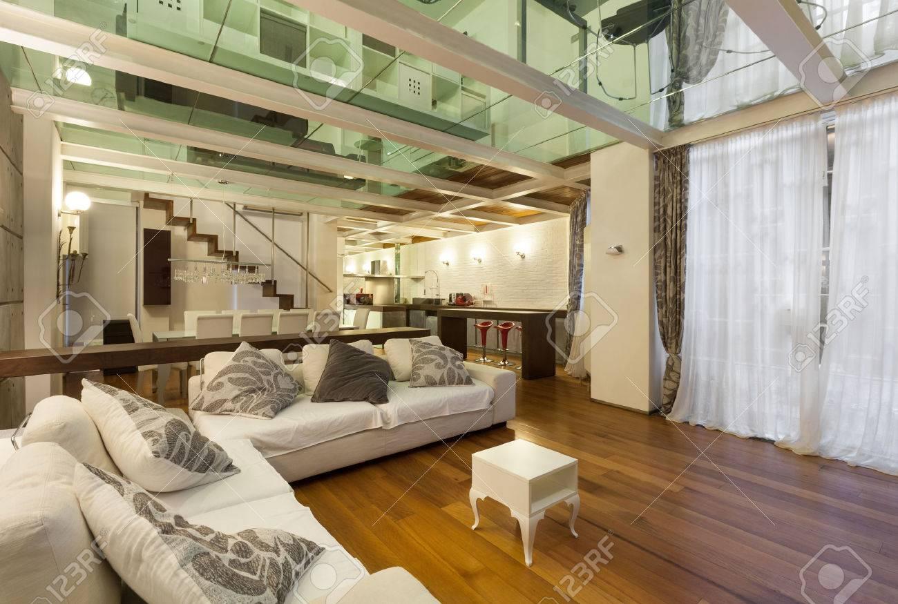 Große Galerie Mit Modernen Möbeln Im Wohnzimmer Standard Bild   39039823