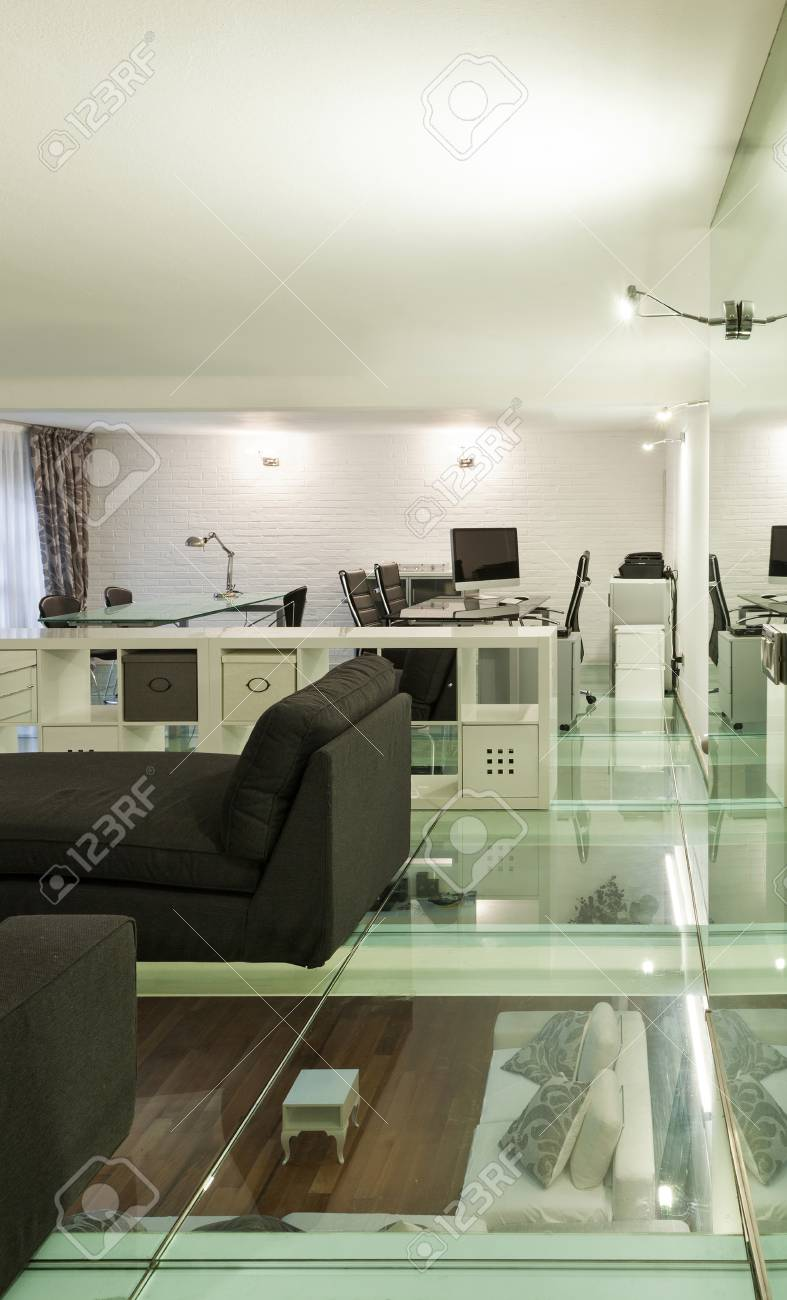 Stock photo wide loft with modern furniture in studio