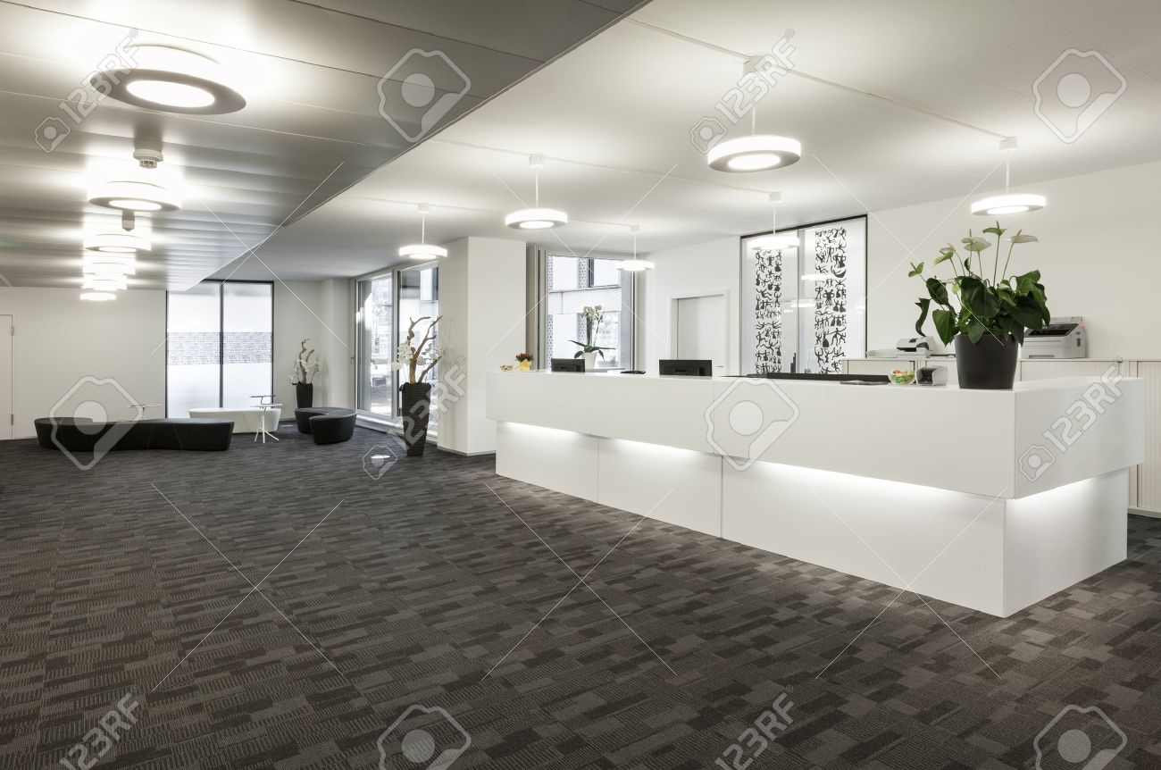 office reception. Empty Reception Hall In Modern Building Stock Photo Office K