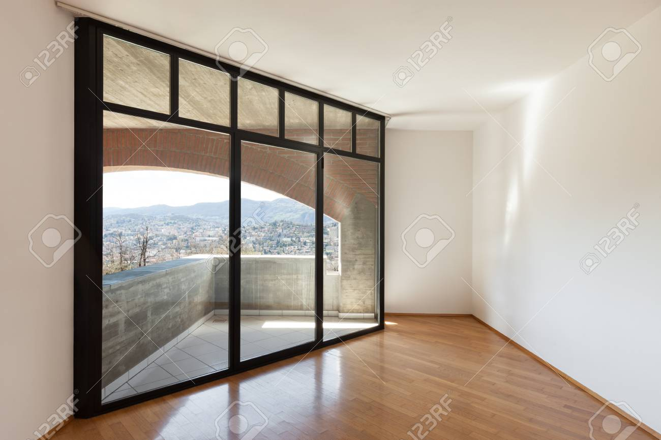 architecture interiors of empty apartment room with windows stock