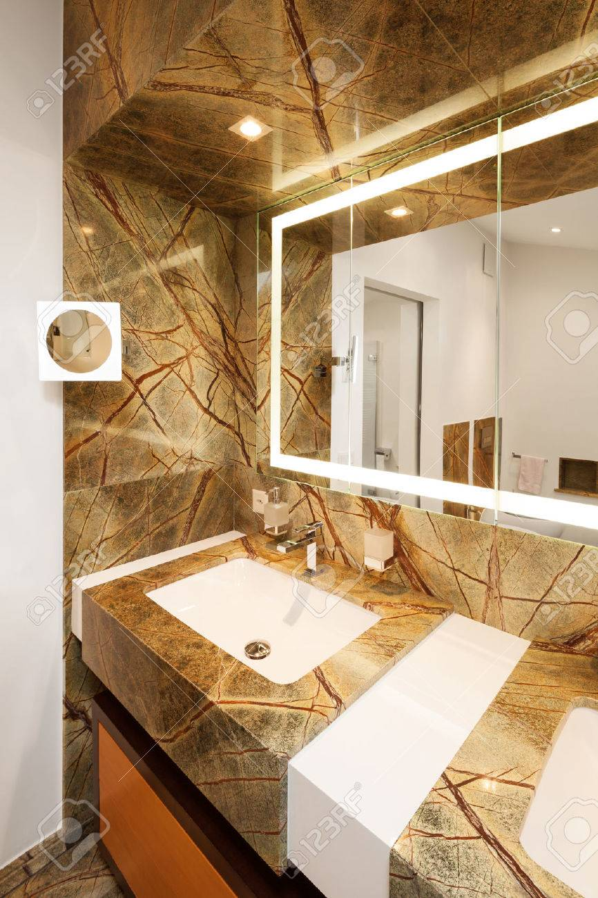 Interior Design Bathroom With Marble Stock Photo