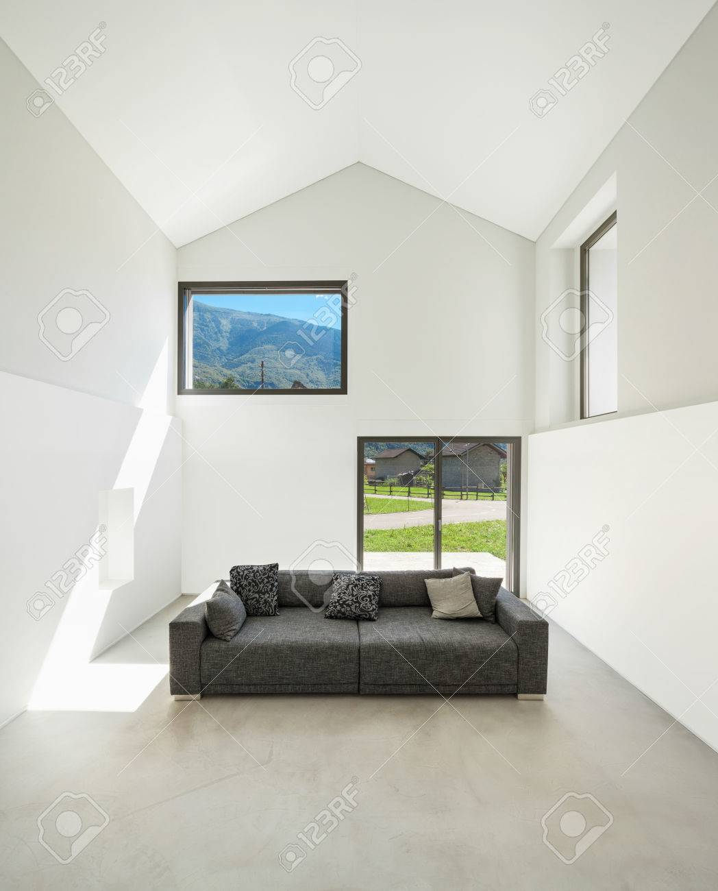Architecture, Interior Modern House, Living Room With Sofa Stock ...