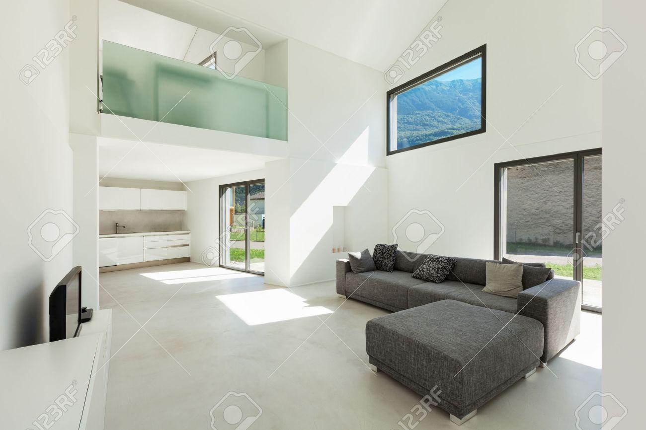 Architecture, Intérieur Maison Moderne, Salon Avec Canapé- Banque ...