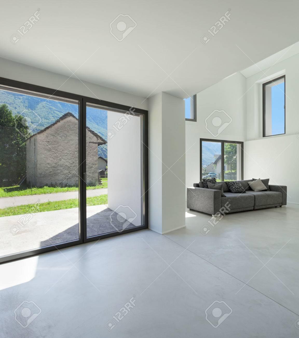 Architektur, Innen Modernes Haus, Wohnzimmer Mit Sofa- Lizenzfreie ...