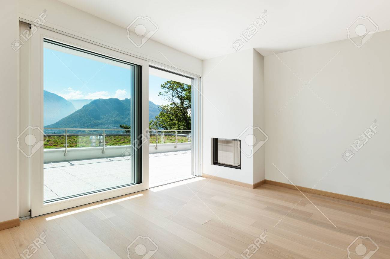 Interior, Empty Living Room Of A Modern Apartment Stock Photo ...