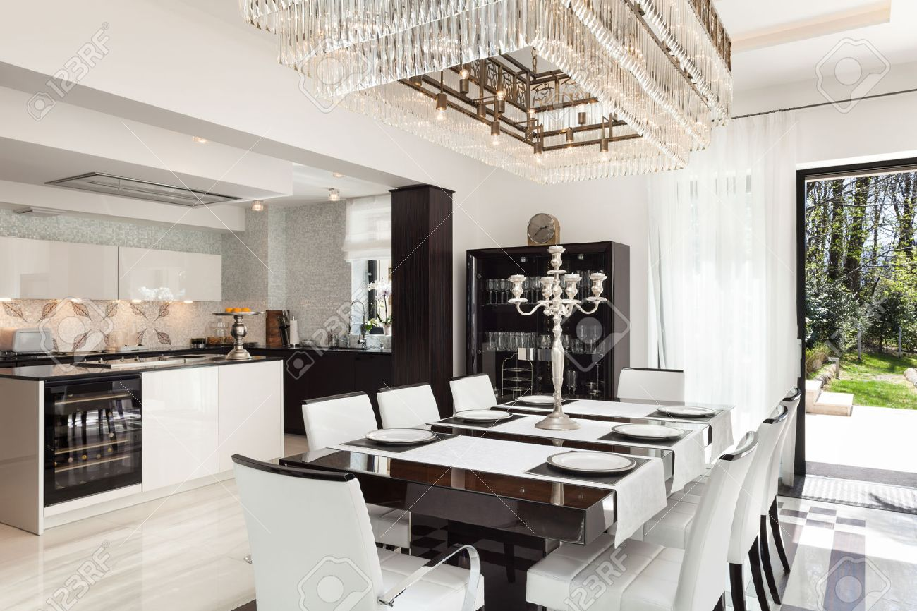 Modern house beautiful interiors dining room stock photo 44117621