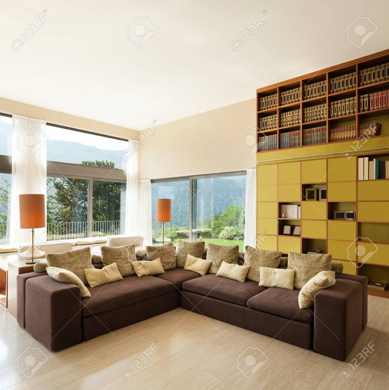 Interior Of A Modern Living Room, Comfortable Divan Stock Photo   44078520