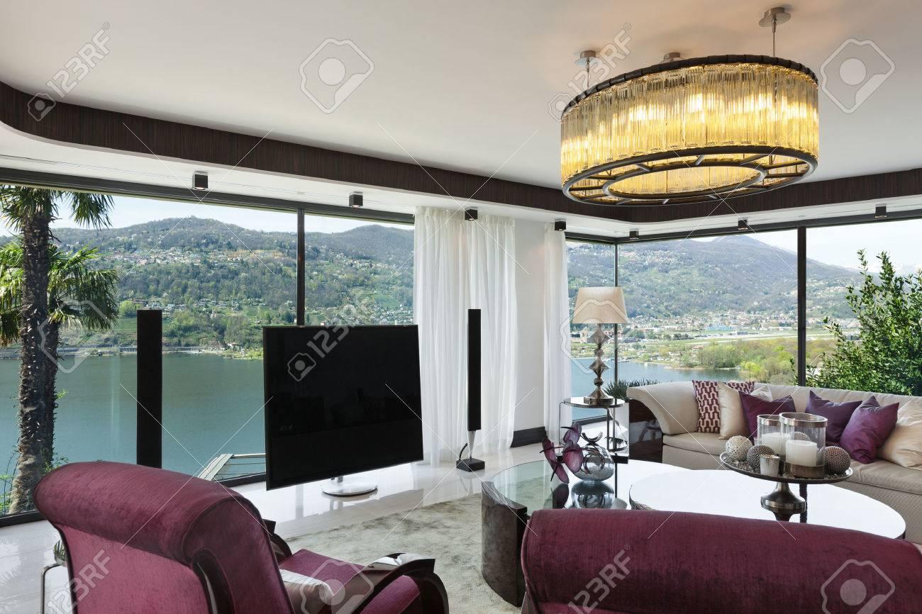 Architektur, Modernes Haus, Schönes Wohnzimmer, Designmöbel ...
