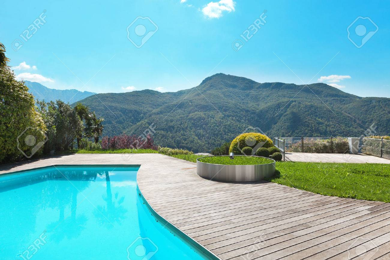Architettura, villa con piscina, all'aperto Archivio Fotografico - 43845806