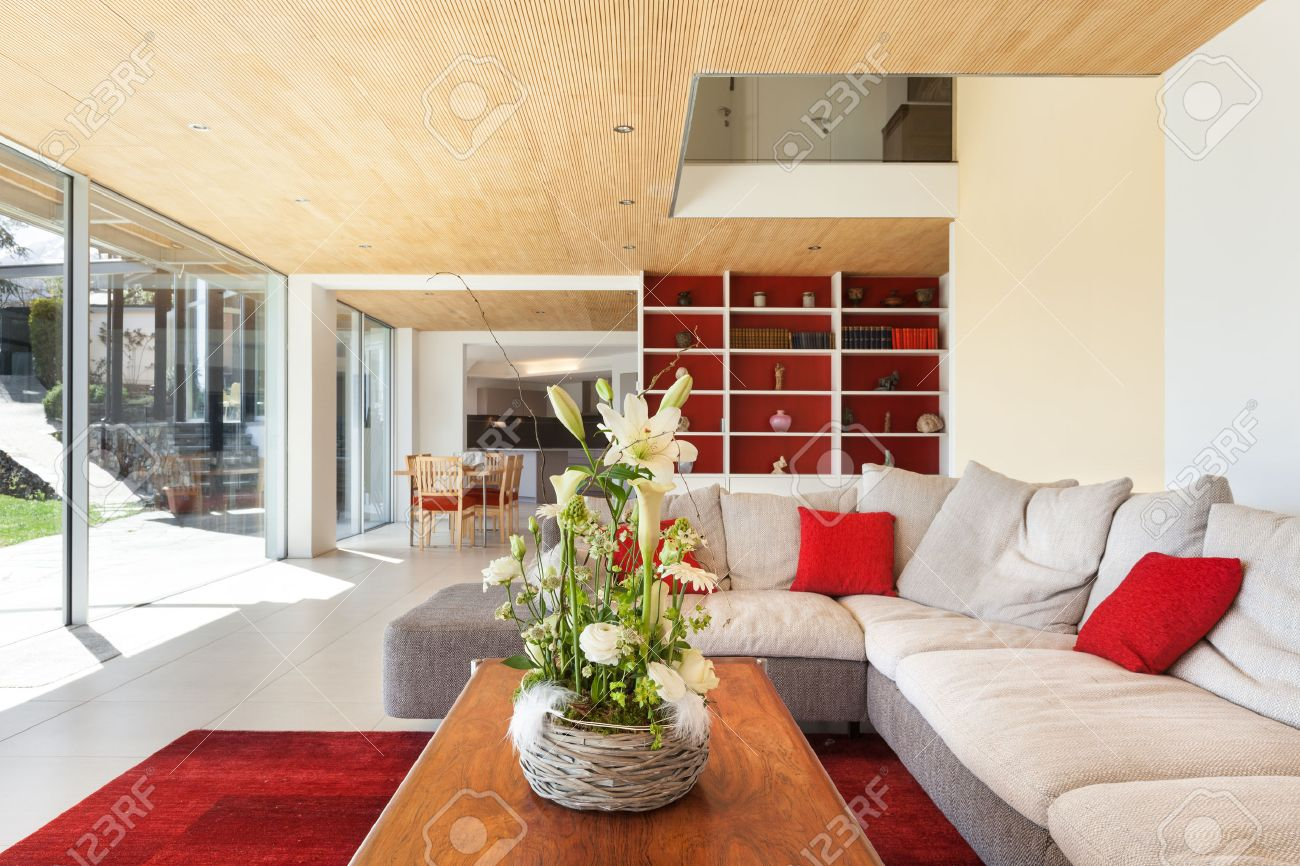 Mountain House, Modern Architecture, Interior, Living Room Stock Photo    43845830