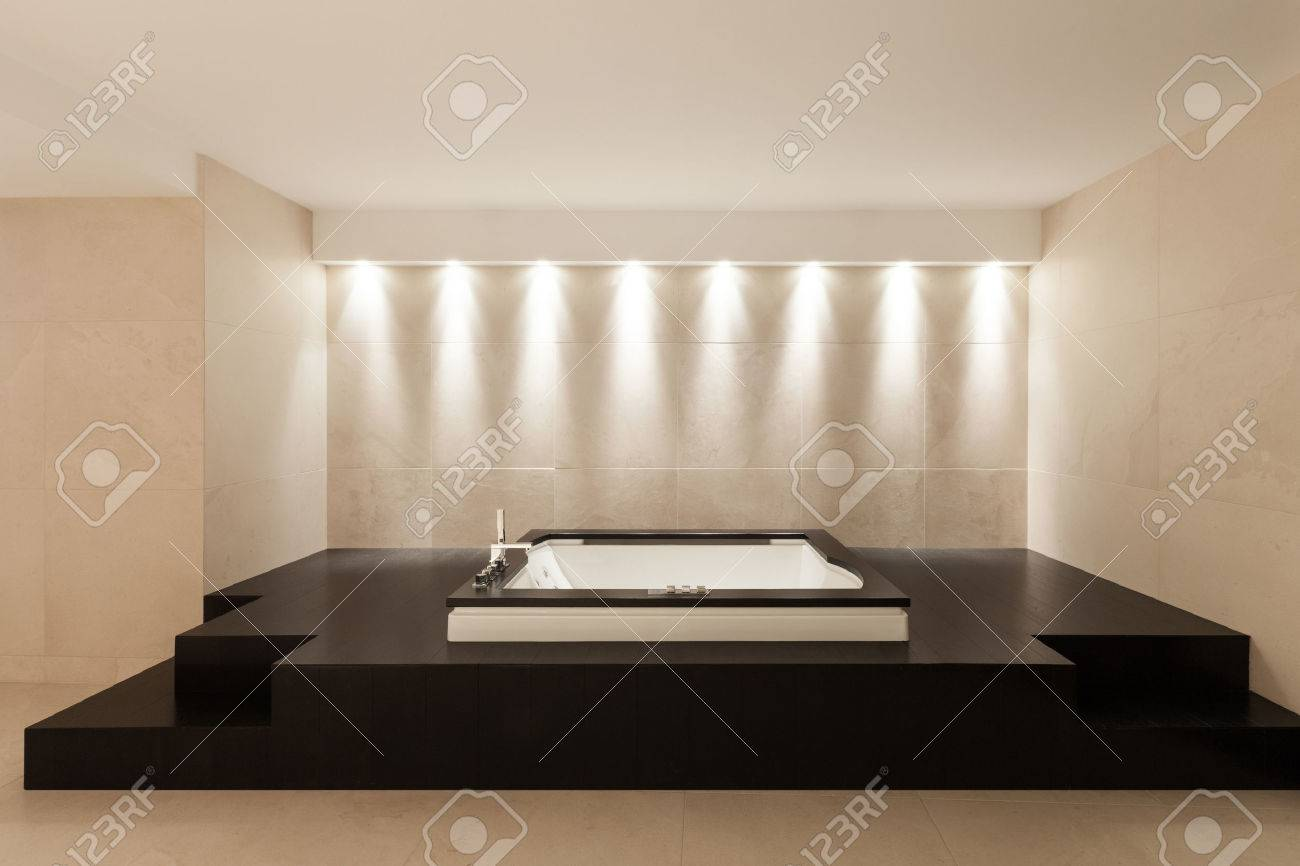 Interior Modern House, Wide Marble Bathroom With Bathtub Stock Photo    44078558