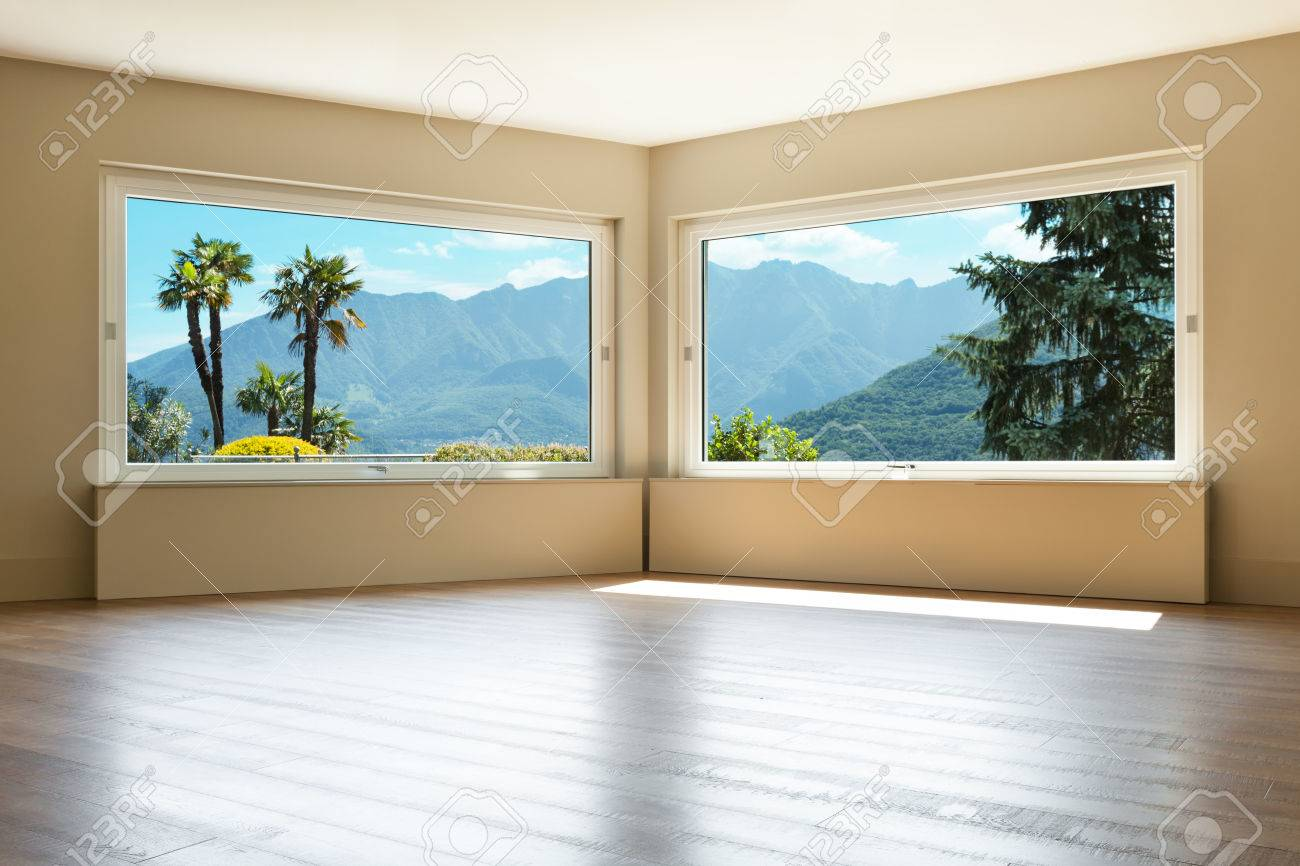 empty living room with large windows stock photo picture and rh 123rf com large picture windows price large picture windows price