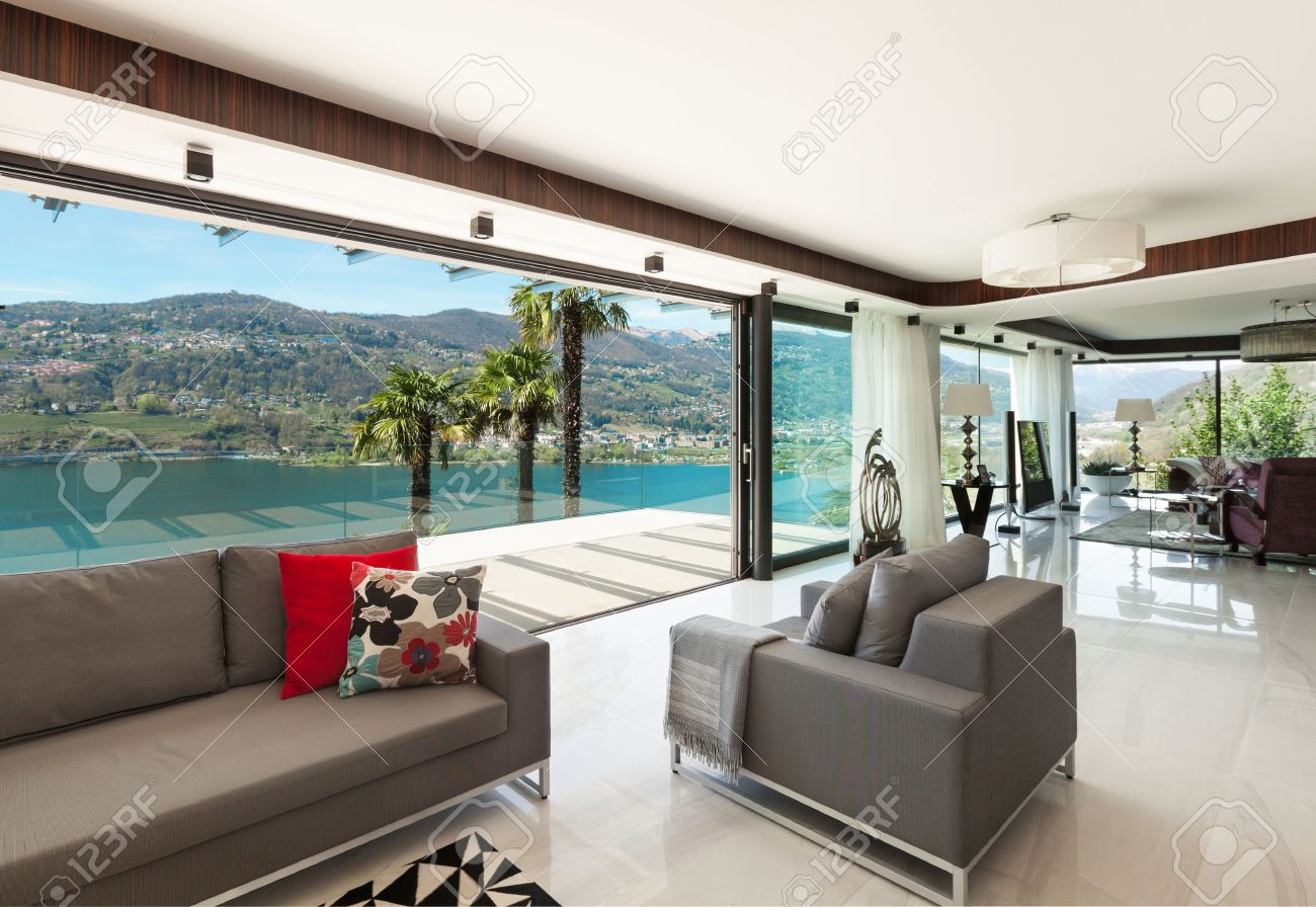 Architektur, Modernes Haus, Schöne Veranda Blick Auf Den See, Innen ...