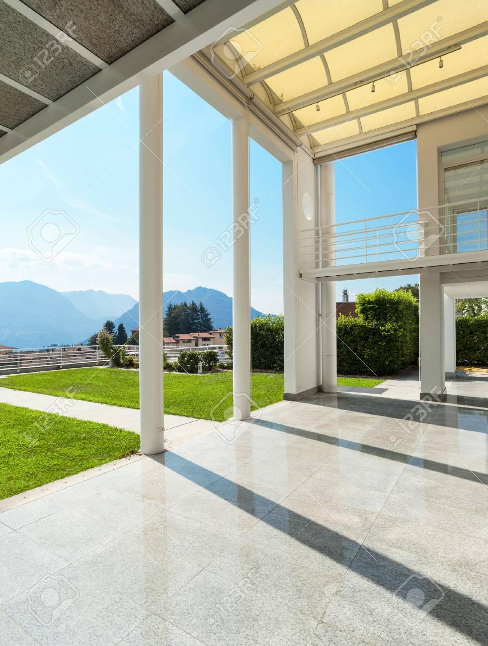 Architecture wide veranda of a modern house exterior stock photo 46190190