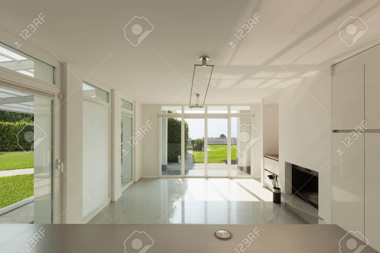 architecture, intérieur d'une maison moderne, vue depuis la cuisine