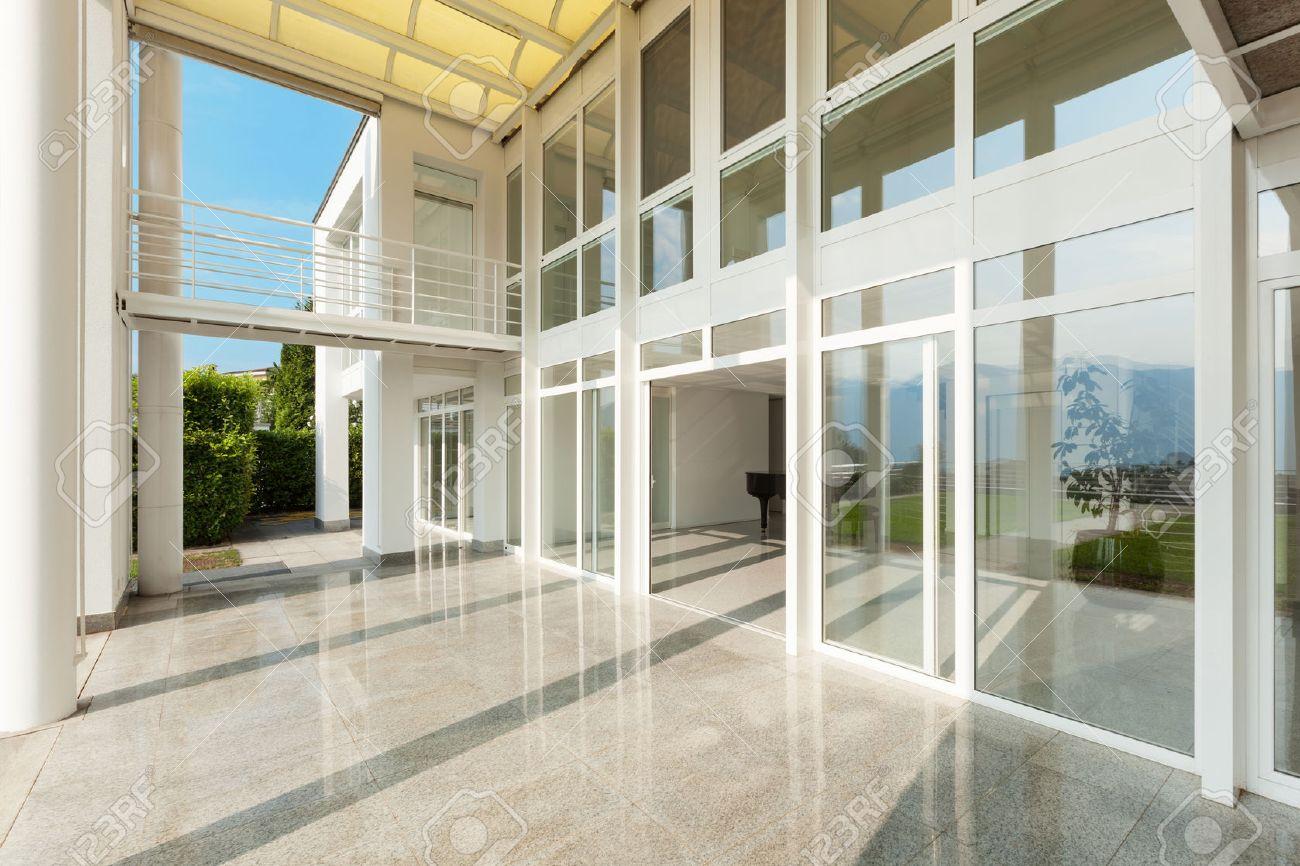 Architecture, wide veranda of a modern house, exterior Standard-Bild - 46190434
