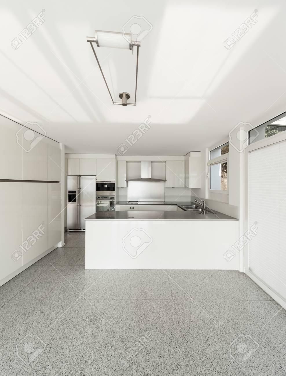 Architecture interior of a modern house white kitchen stock photo 46190515