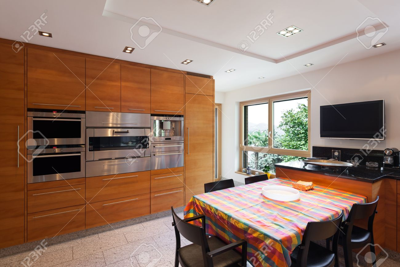 Interior Of A Modern Apartment Wide Domestic Kitchen Cabinet