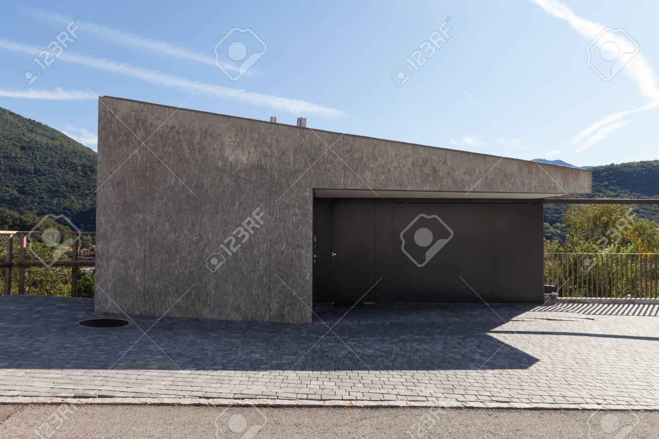 Banque Du0027images   Maison Moderne, En Béton Carré Minimaliste