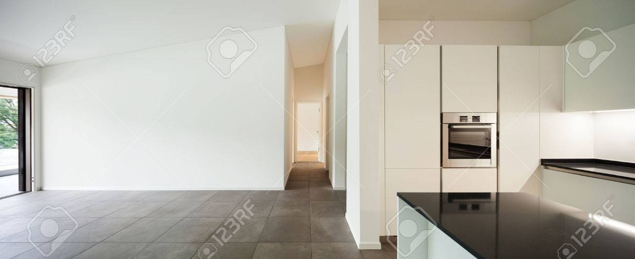 interior of new apartment, empty room with domestic kitchen Standard-Bild - 47441427