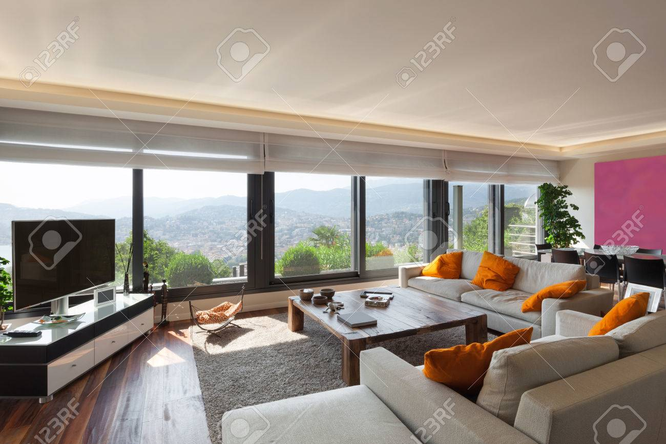 Interior, beautiful living room of a luxury apartment - 47441499