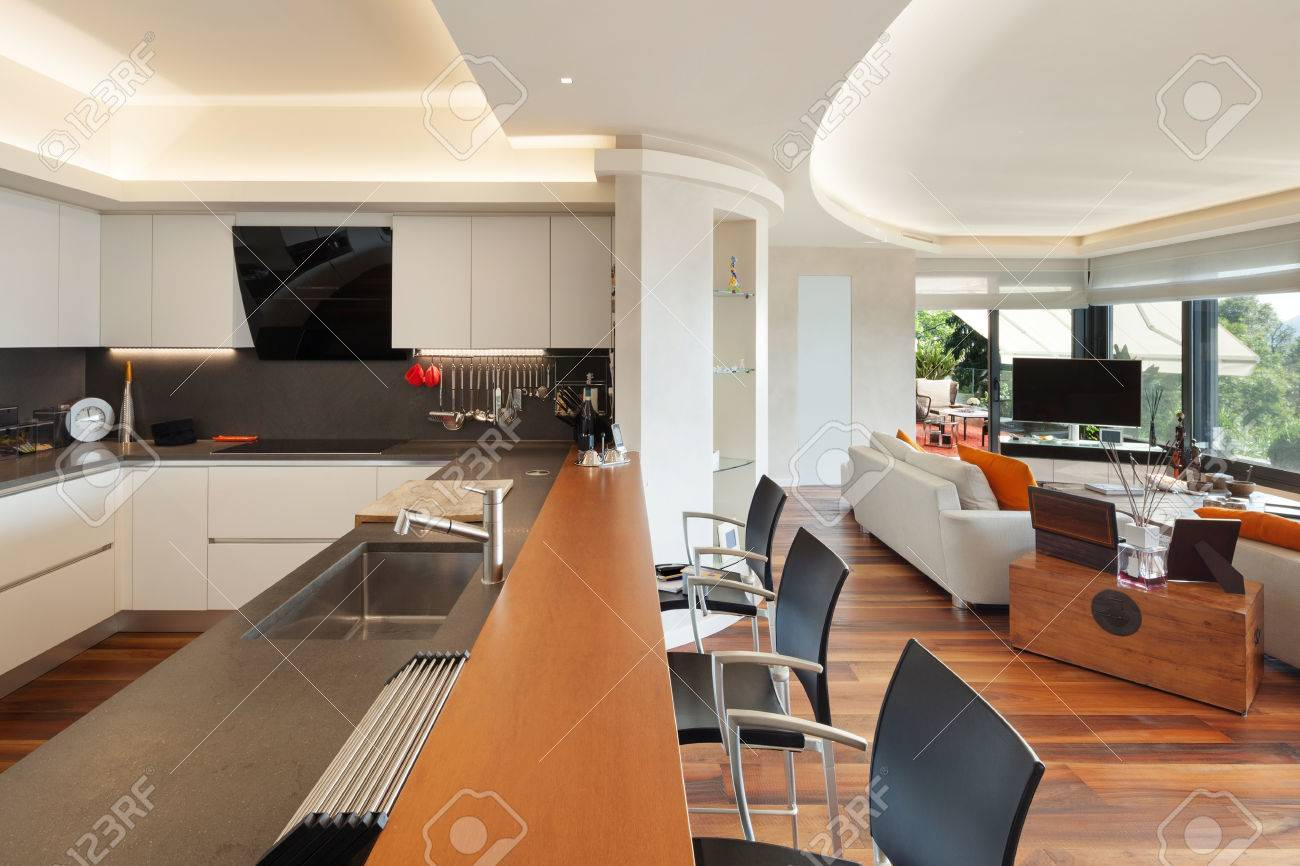 Interiors, beautiful modern kitchen of a luxury apartment - 47441575