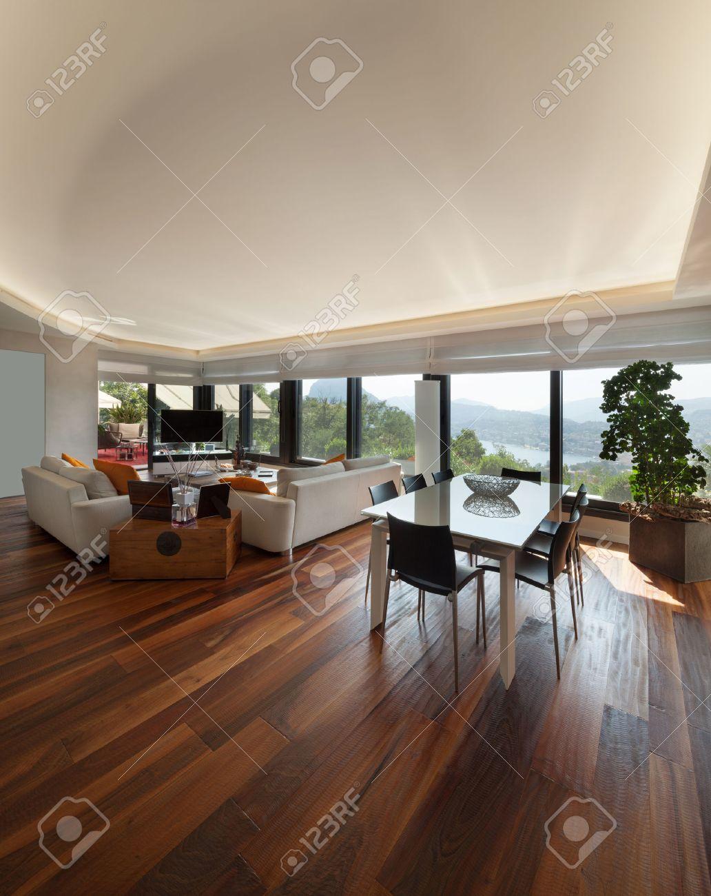 Interiors, wide modern living room of a luxury apartment Standard-Bild - 47441615