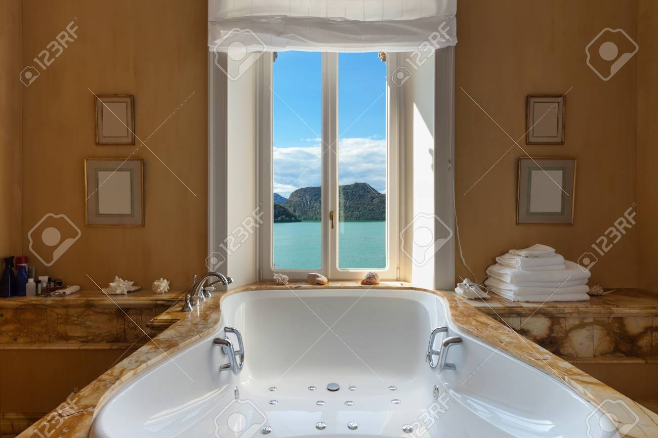 Interior Of A Luxury Mansion, Beautiful Bathroom With Jacuzzi Stock ...