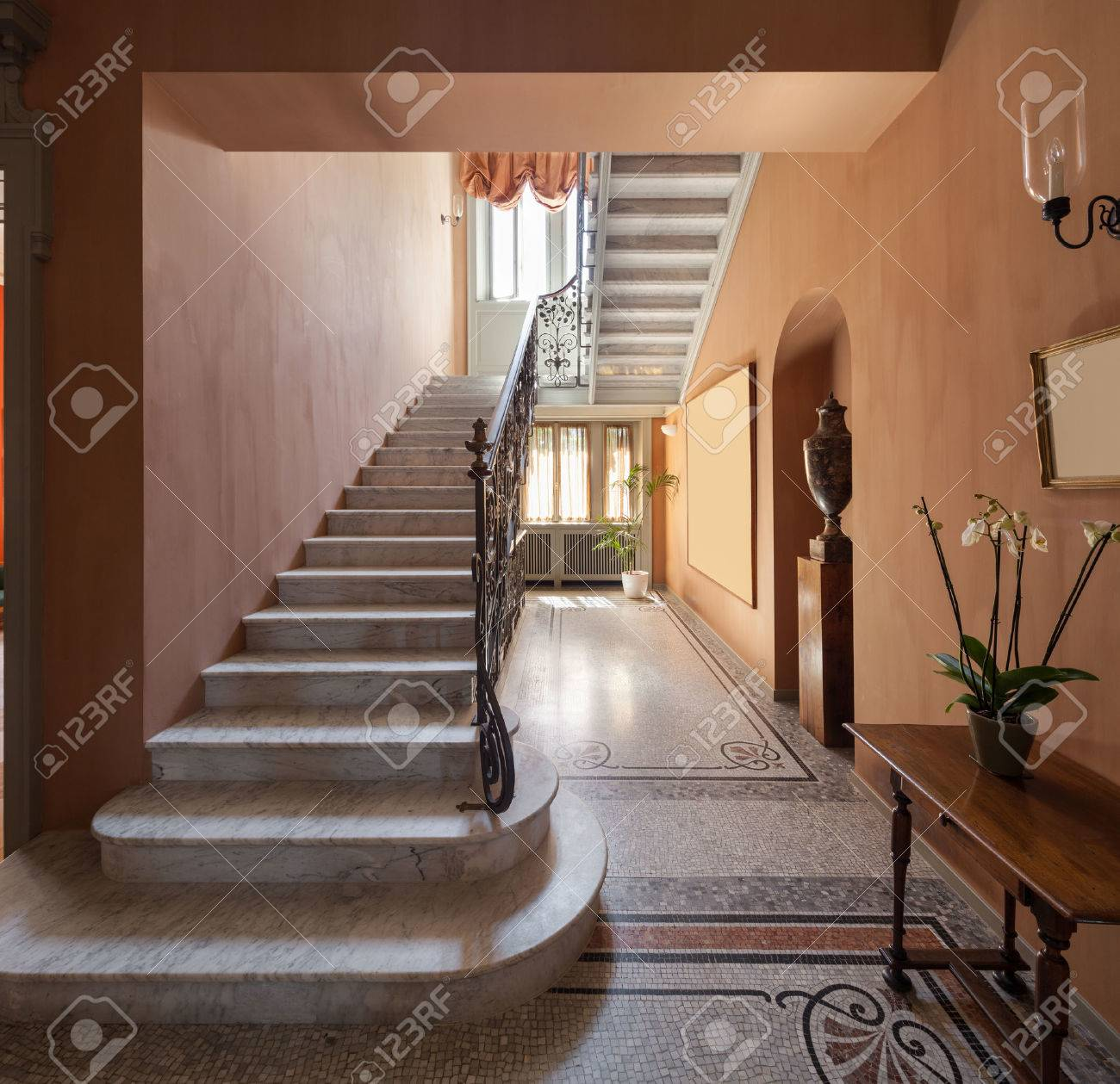 Hall With Mosaic Floor In Luxury Mansion , Staircase Stock Photo   48094160