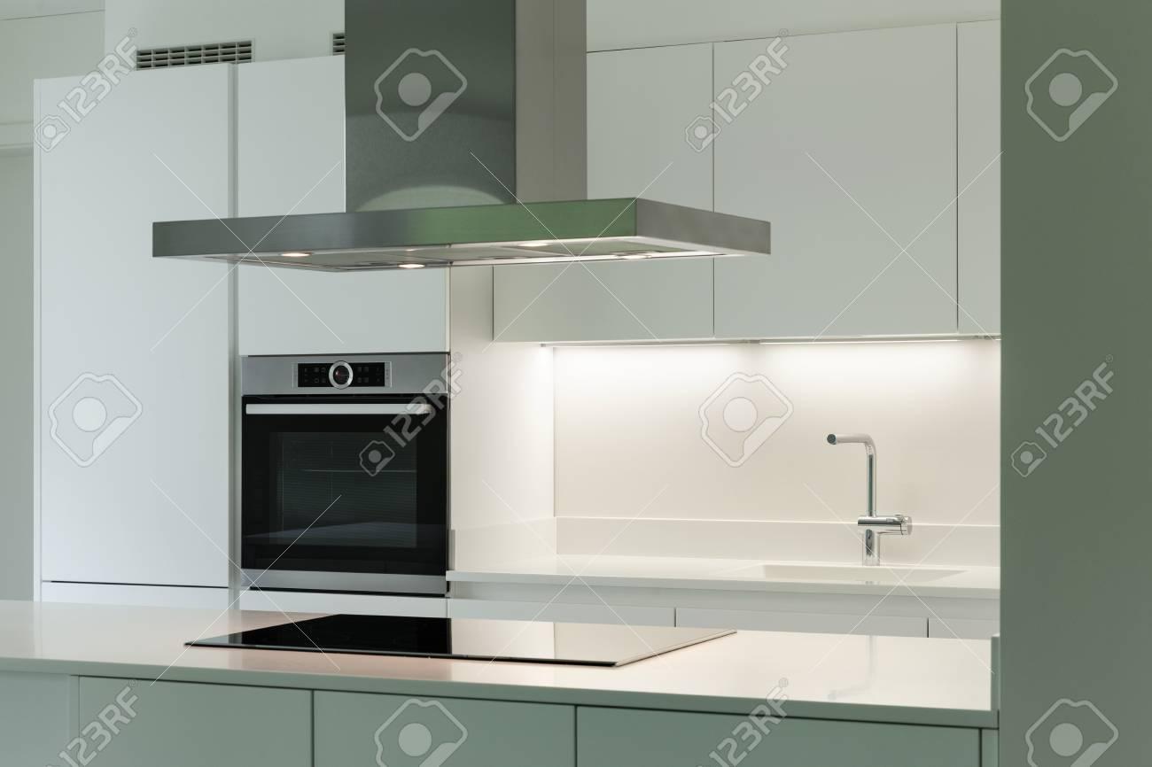 interior of new apartment, white domestic kitchen - 49540180