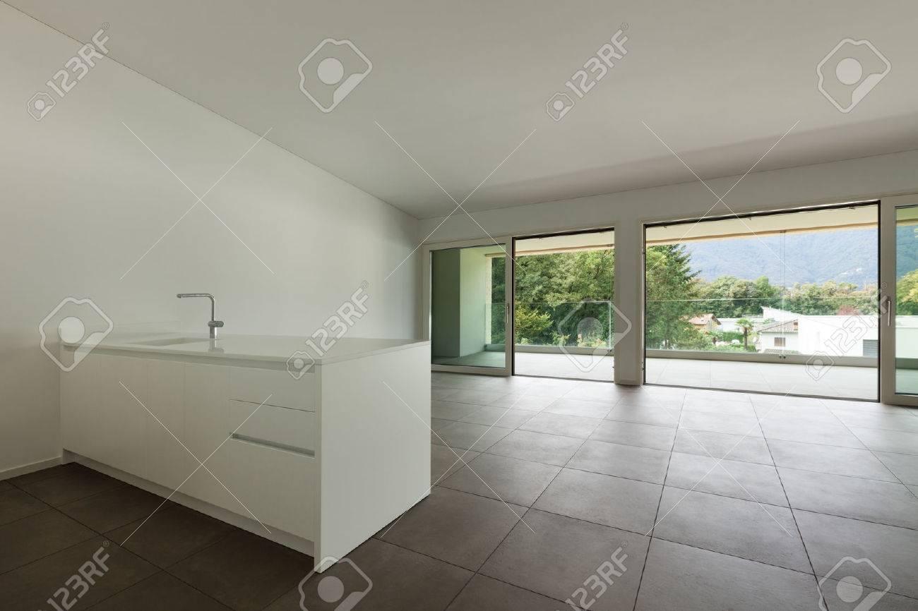 interior of new apartment, modern domestic kitchen - 49780911