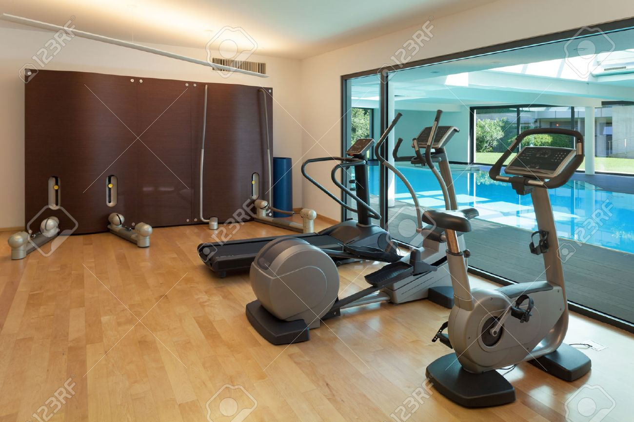 Interior, gym of a modern house with spa Archivio Fotografico - 49781096