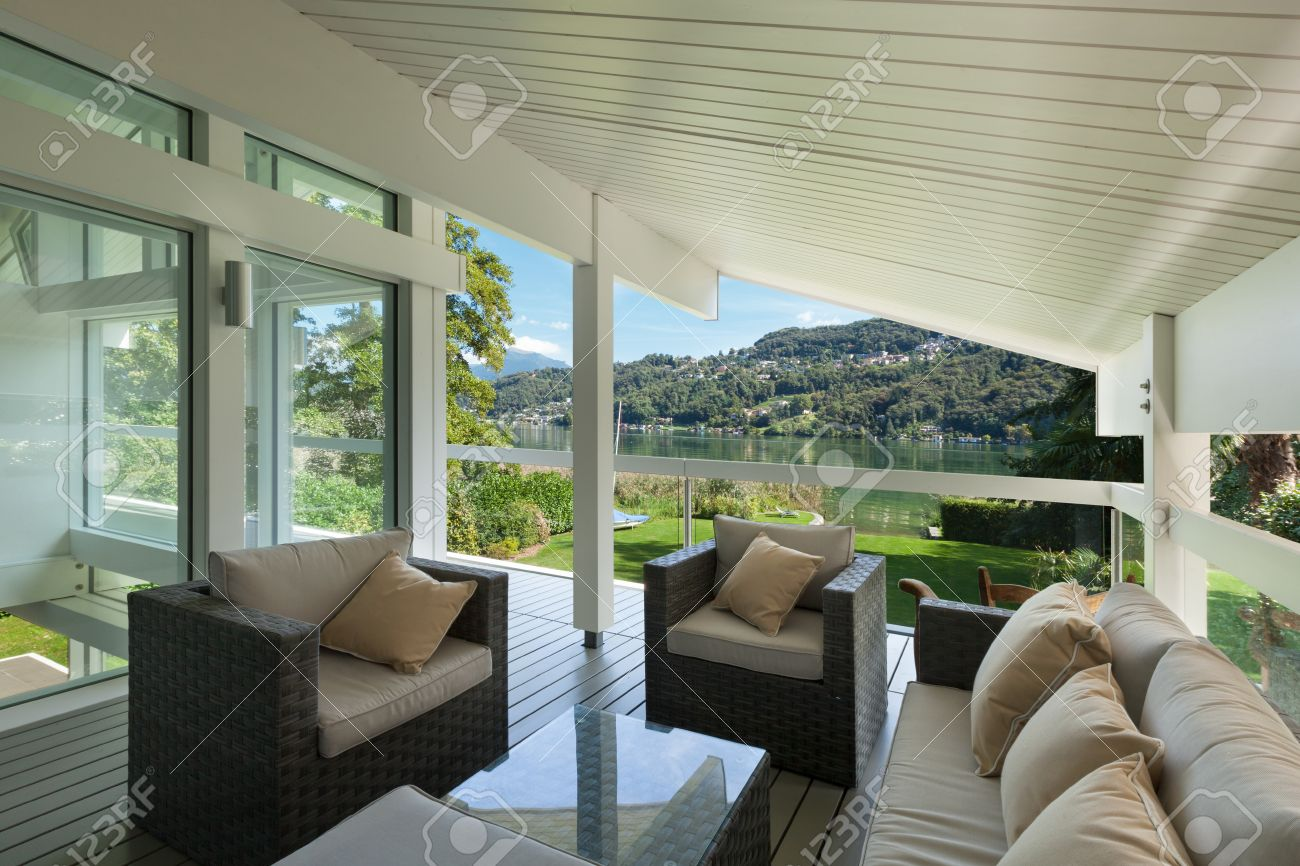 Modern house beautiful veranda with furniture stock photo 49781315