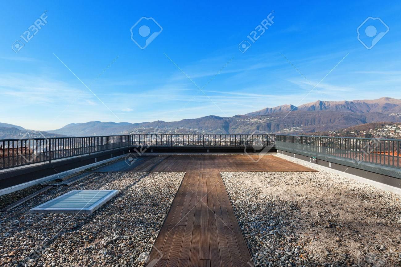 external of a modern house, large roof terrace - 50592637